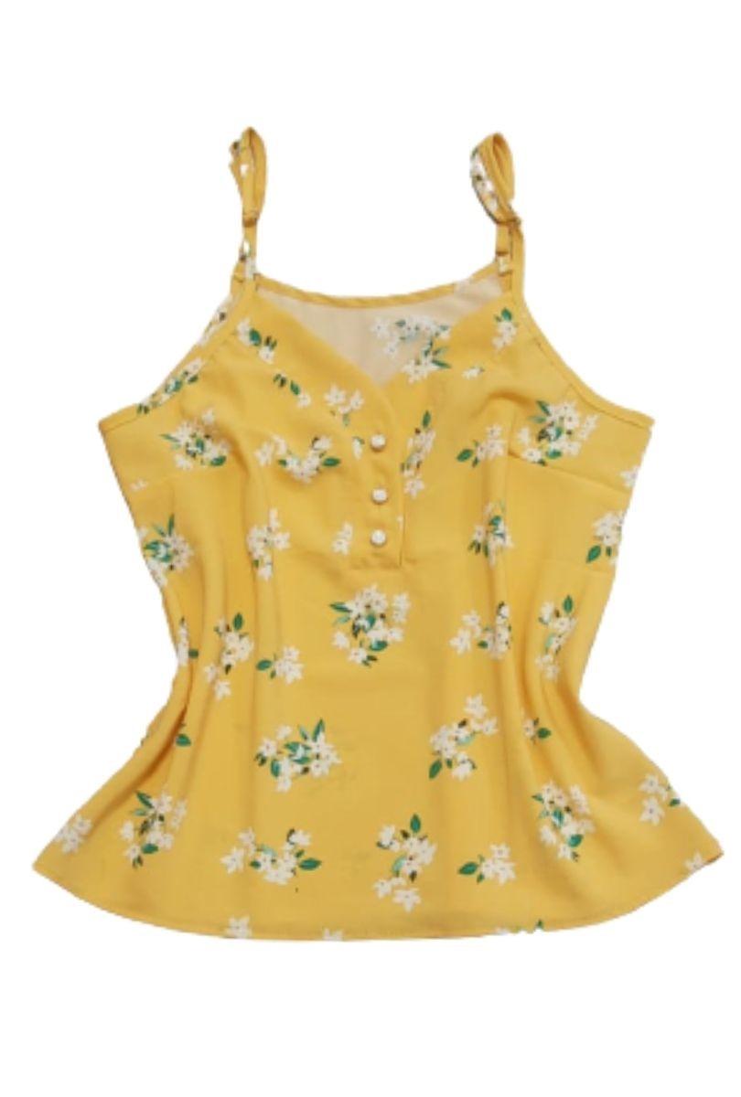 Blusa Alcinha Detalhe Botões Laranja com Flores  - ModaStore | Moda Feminina