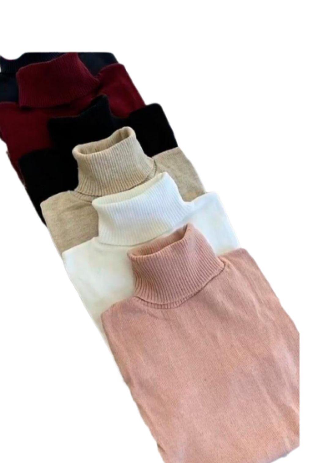 Blusa Cacharrel Feminina Tricot Lã Gola Alta Inverno 2021  - ModaStore | Moda Feminina