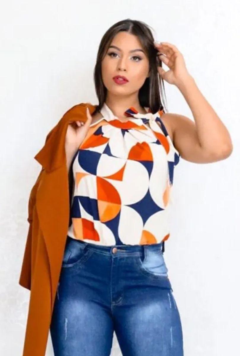Blusa Camisa Regata Feminina Laço Pescoço Gola Alta Social Creme  - ModaStore | Moda Feminina