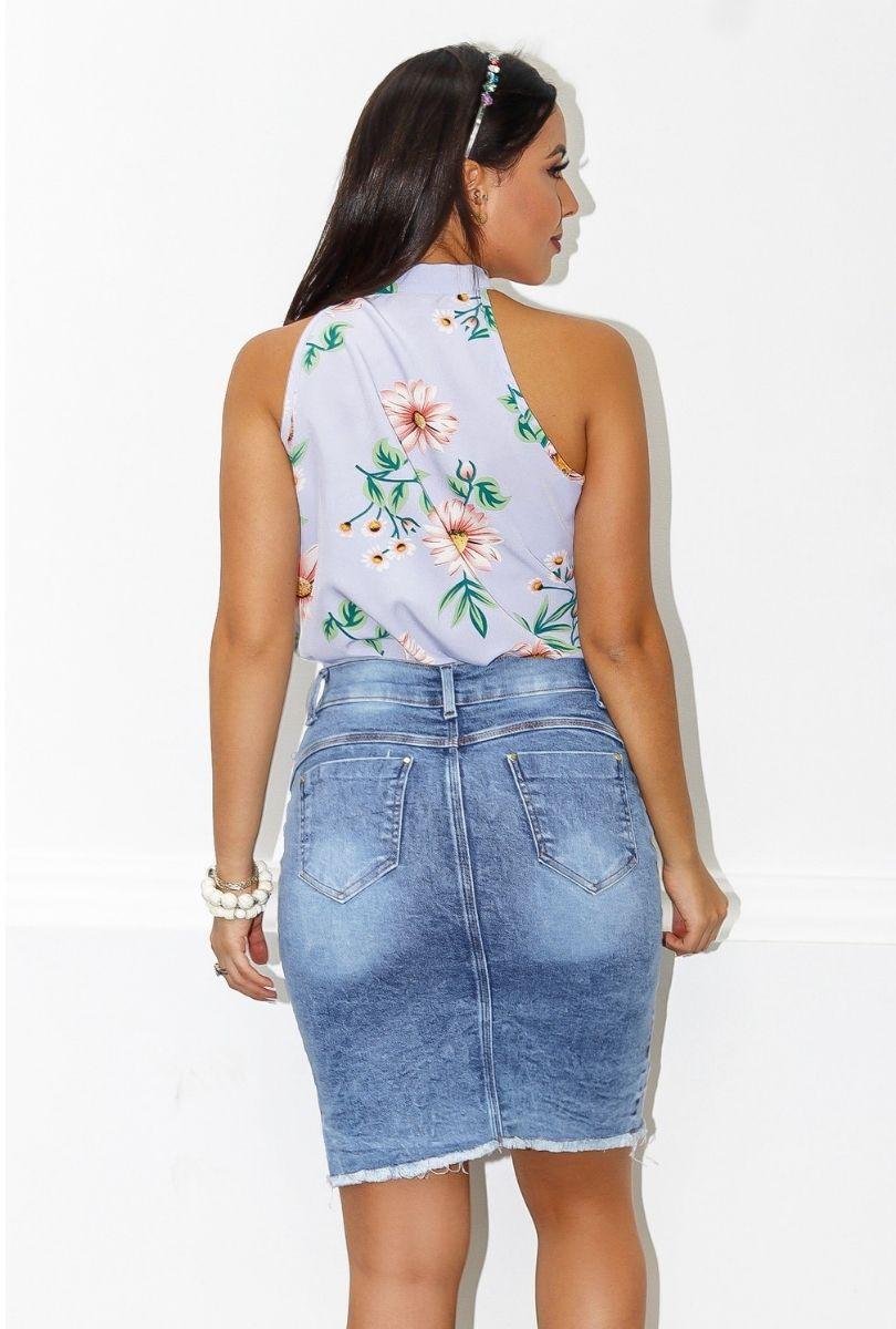 Blusa Camisa Regata Feminina Laço Pescoço Gola Alta Social Floral  - ModaStore