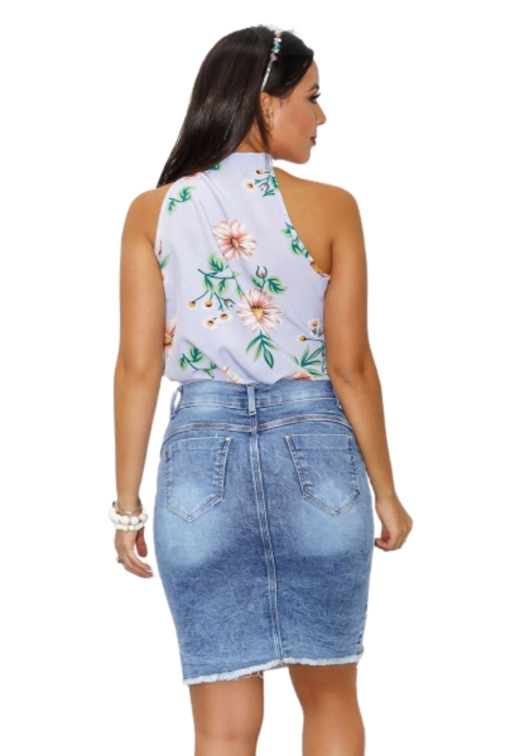 Blusa Camisa Regata Feminina Laço Pescoço Gola Alta Social Floral  - ModaStore | Moda Feminina