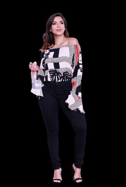 Blusa Ciganinha Ombro a Ombro Fashion Manga Jabor Listras  - ModaStore