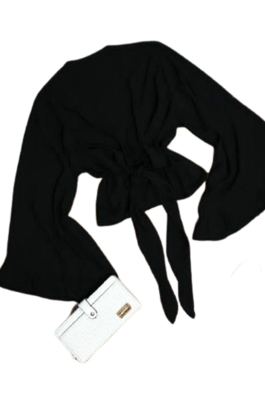 Blusa Cropped Manga Longa Flare Laço Amarrar  - ModaStore | Moda Feminina