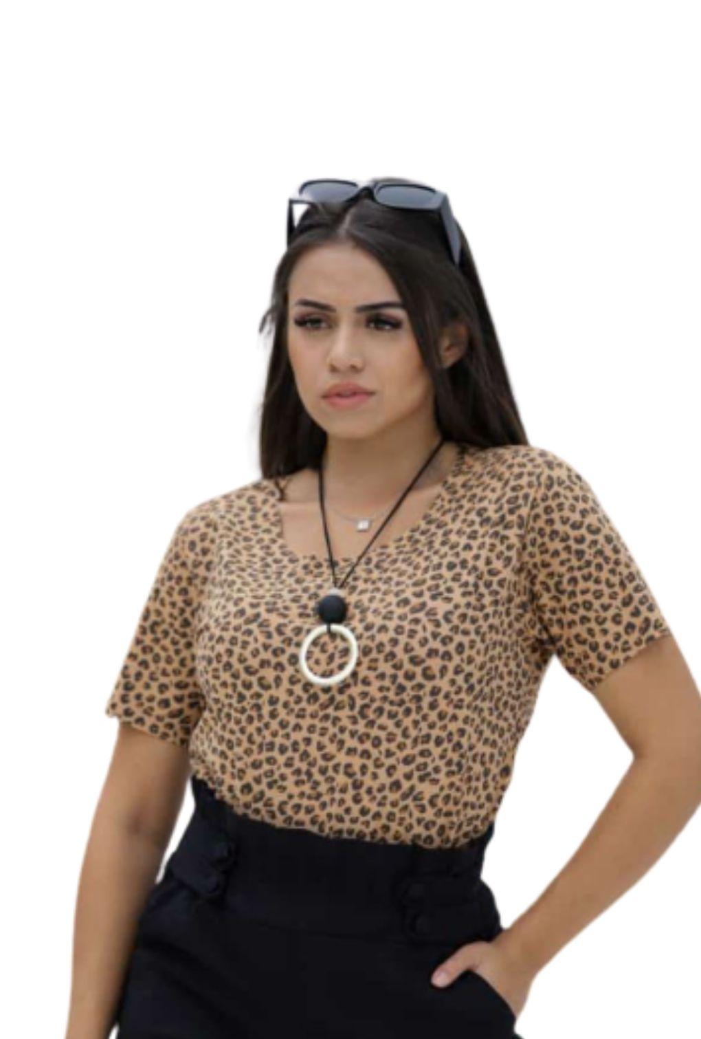 Blusa Feminina Estampada Animal Print Onça Manga Curta Em Suede  - ModaStore | Moda Feminina