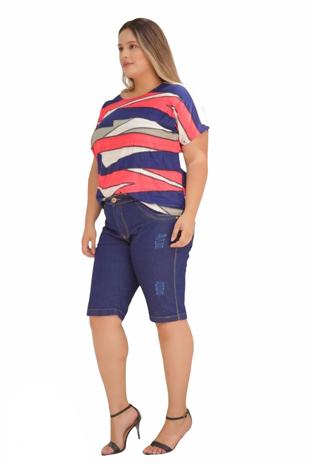 Blusa Listrada Plus Size  - ModaStore | Moda Feminina