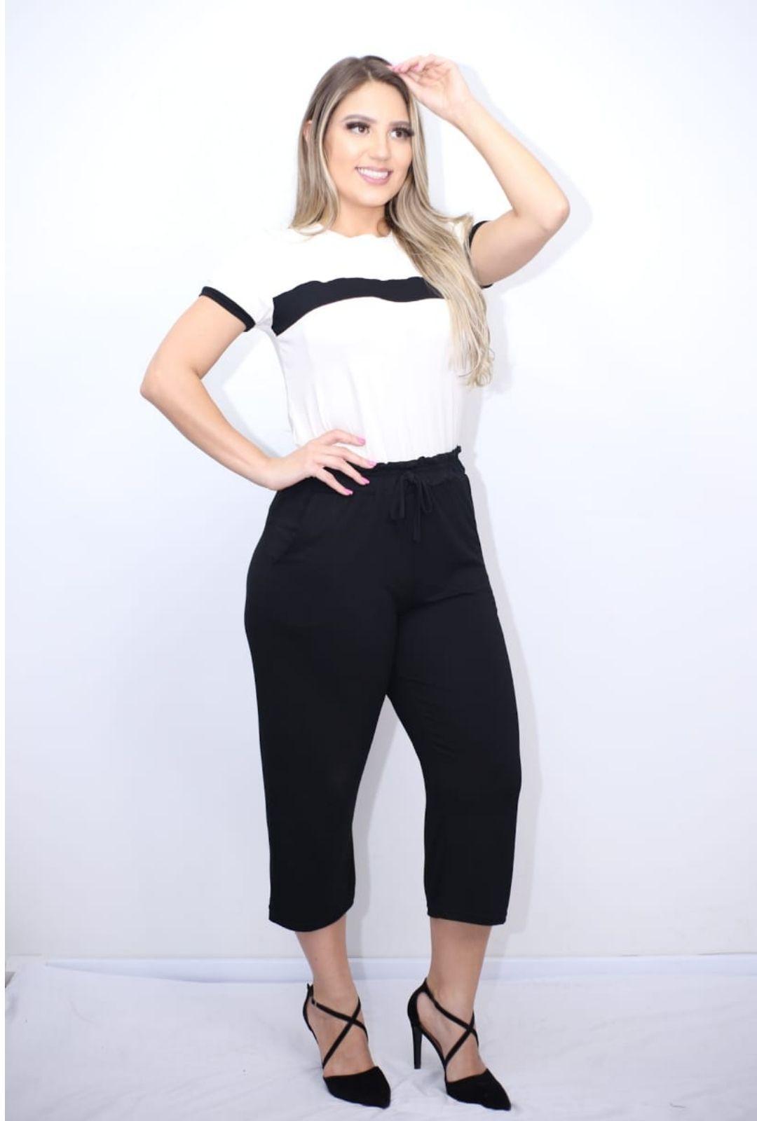Blusa Malha Lisa com Listra  - ModaStore