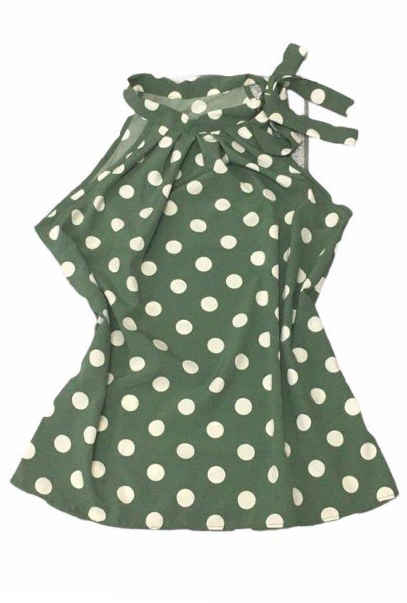 Blusa Camisa Regata Feminina Laço Pescoço Gola Alta Social Verde Musgo Poá  - ModaStore