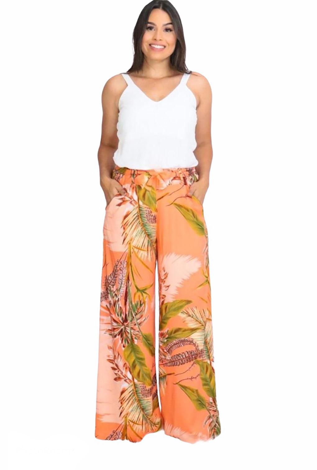 Calça Feminina Pantalona de Viscose Floral  - ModaStore   Moda Feminina