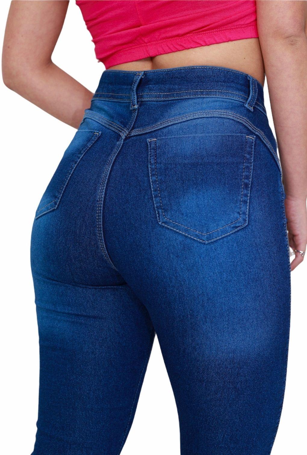 Calça Jeans Básica Cintura Média Feminina Levanta Bumbum  - ModaStore | Moda Feminina