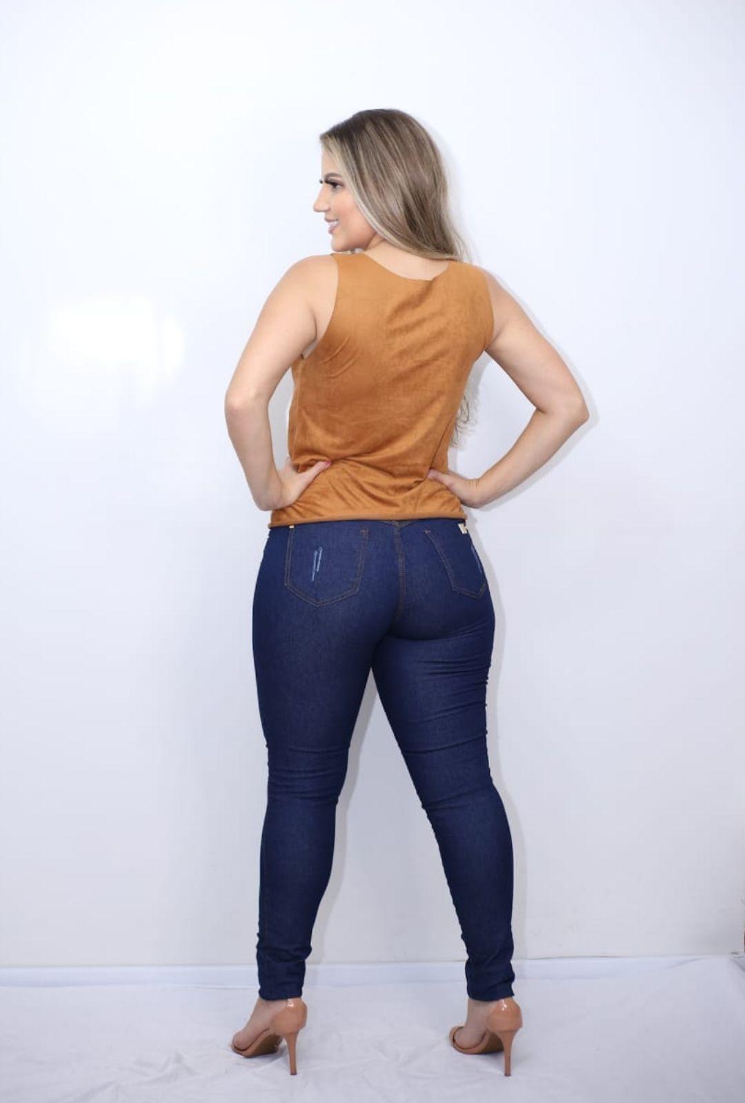Calça Jeans Botão Estonada  - ModaStore   Moda Feminina