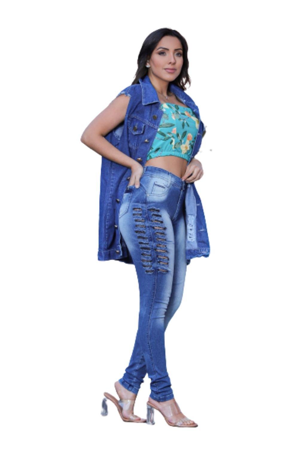 Calça Jeans Cintura Alta Detalhe Rasgo Lateral Levanta Bumbum  - ModaStore | Moda Feminina