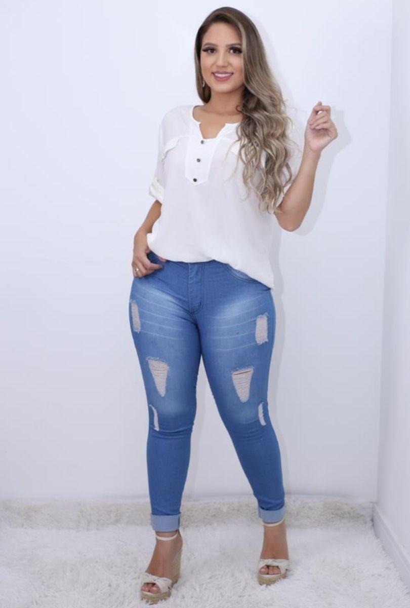 Calça Jeans Destroyed Laser Barra Dobrada  - ModaStore