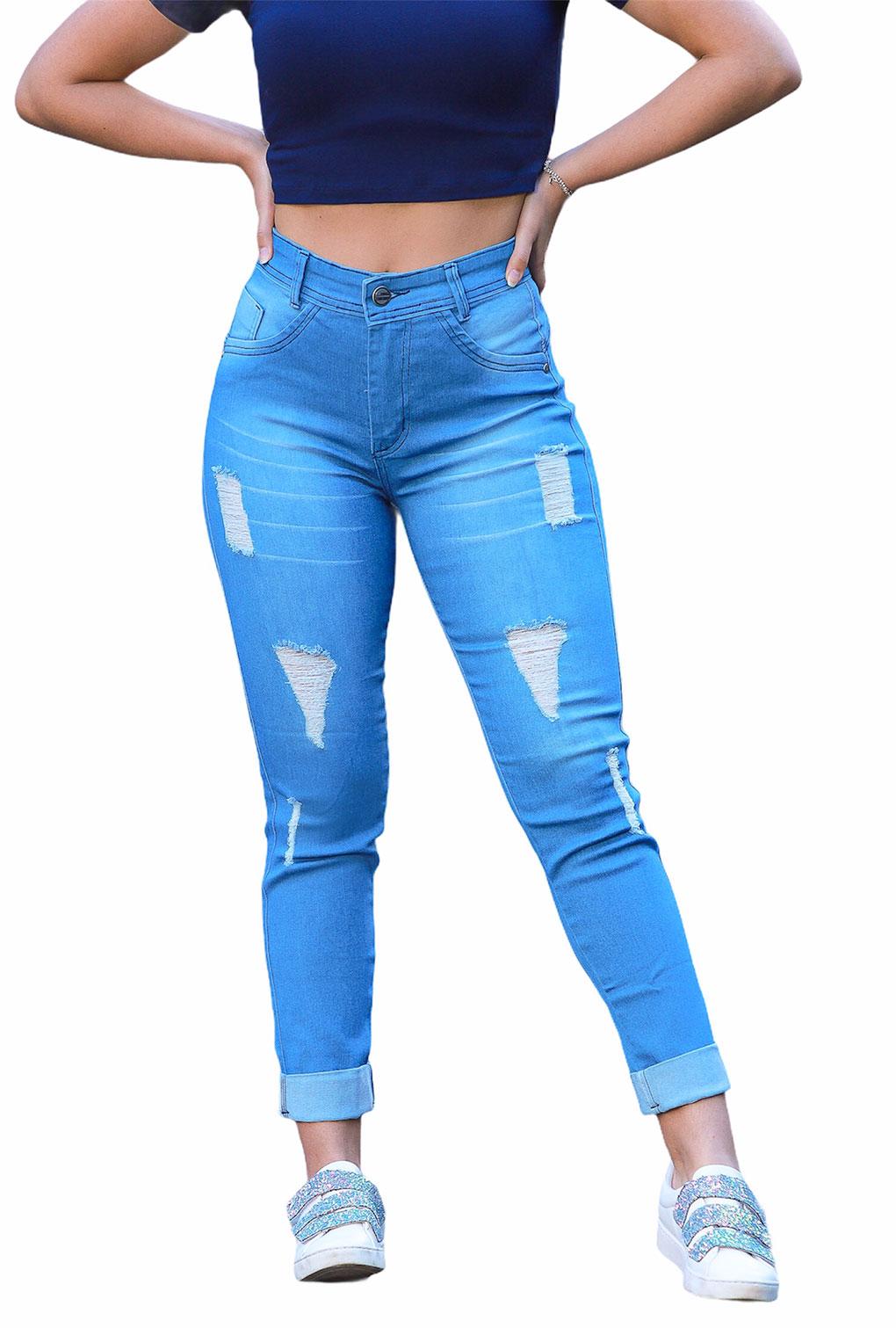 Calça Jeans Destroyed Laser Barra Dobrada  - ModaStore   Moda Feminina