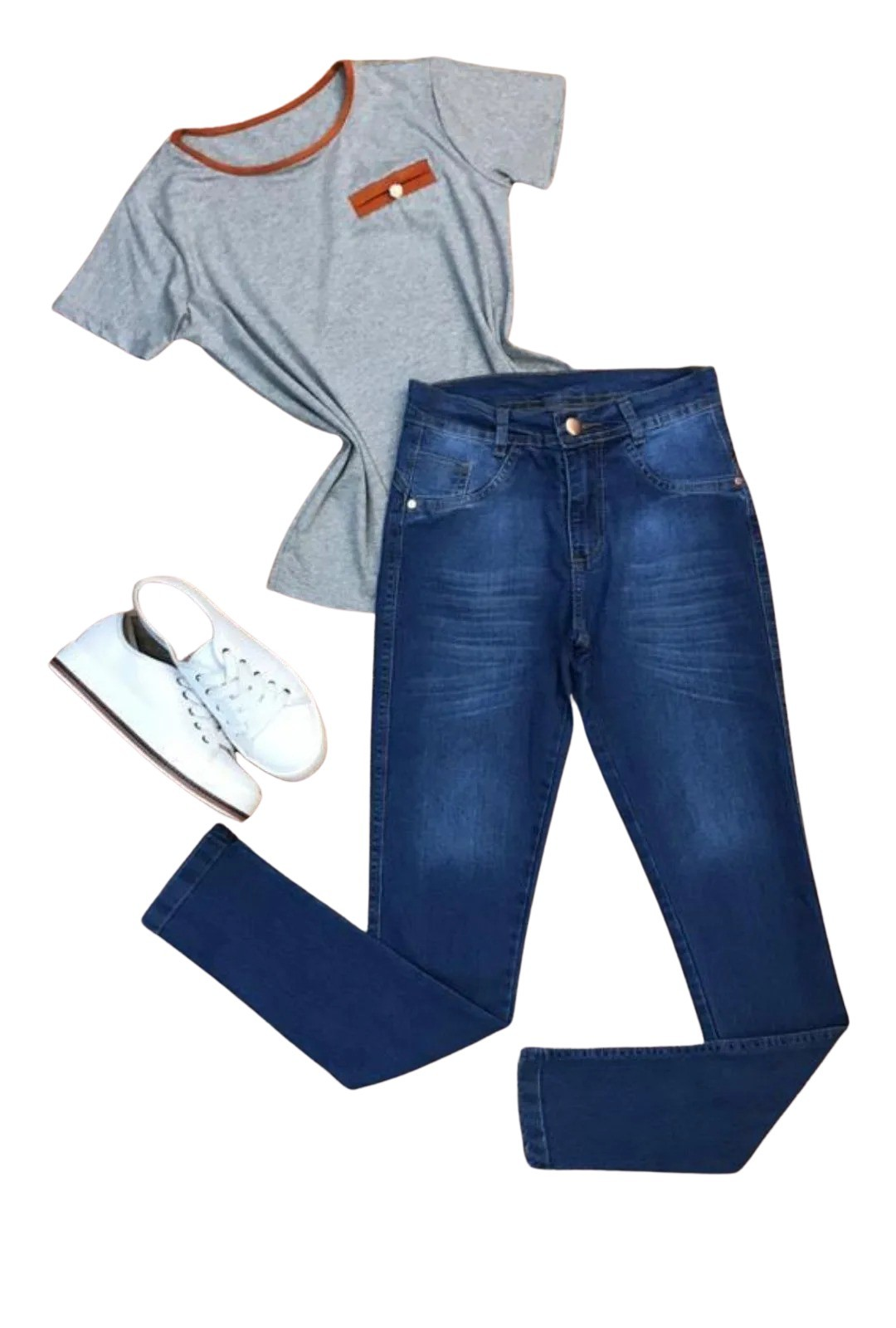 Calca Jeans Detalhe Laser  - ModaStore | Moda Feminina