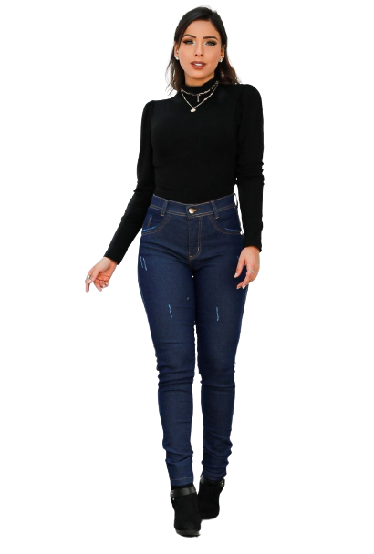 Calça Jeans Feminina Básica Cós Médio  - ModaStore | Moda Feminina