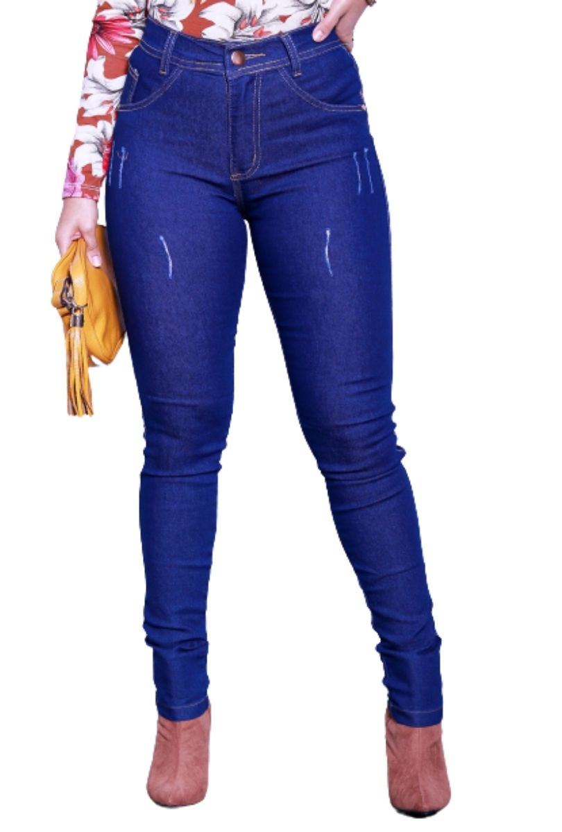 Calça Jeans Feminina Básica Cós Médio  - ModaStore