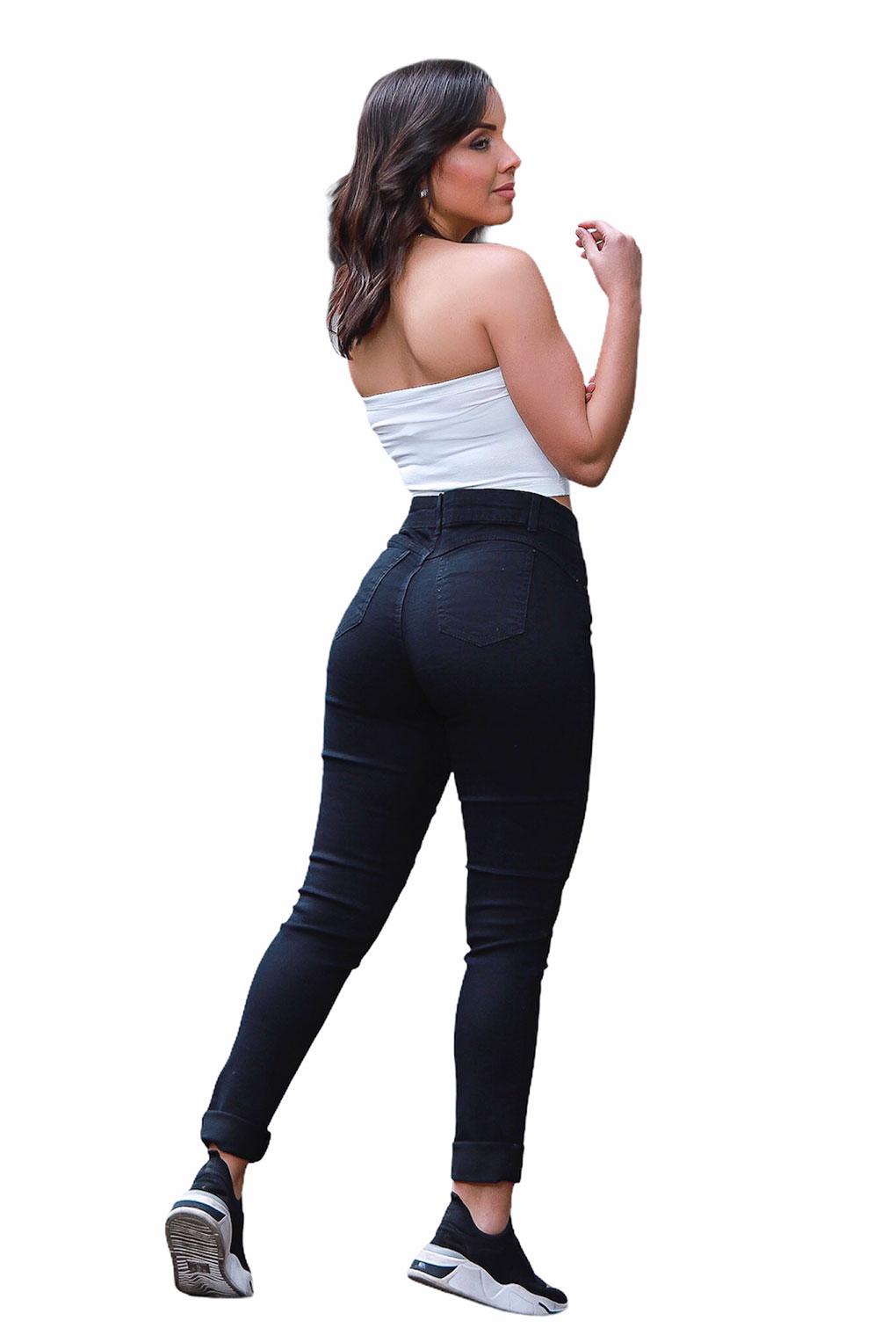 Calça Jeans Feminina Cintura Alta Básica Preta  - ModaStore | Moda Feminina