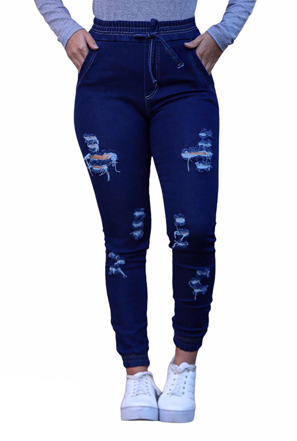 Calça Jeans Feminina Jogger Destroyed Cintura Alta Blogueira  - ModaStore | Moda Feminina