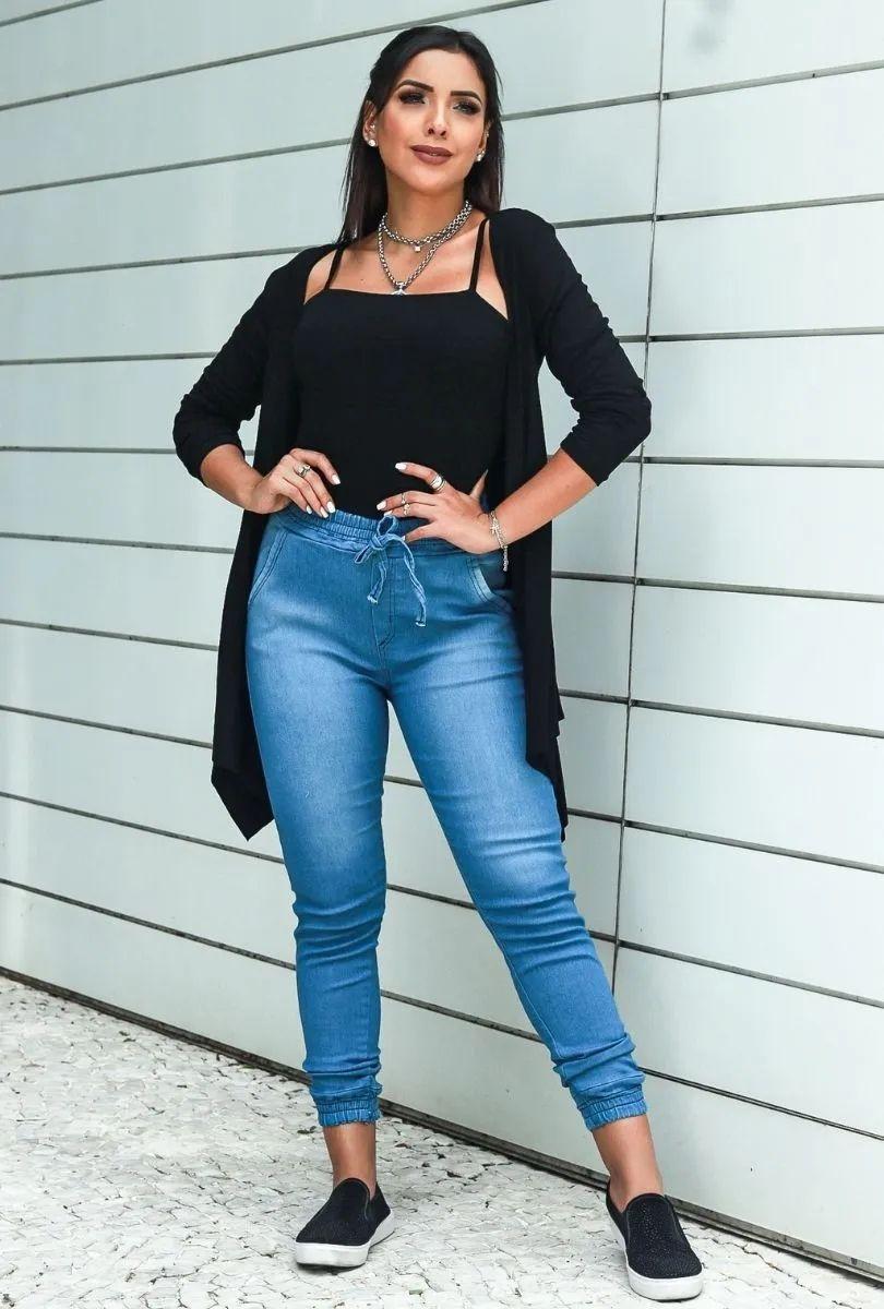Calça Feminina Jogger Lisa Jeans Cintura Alta Blogueira  - ModaStore