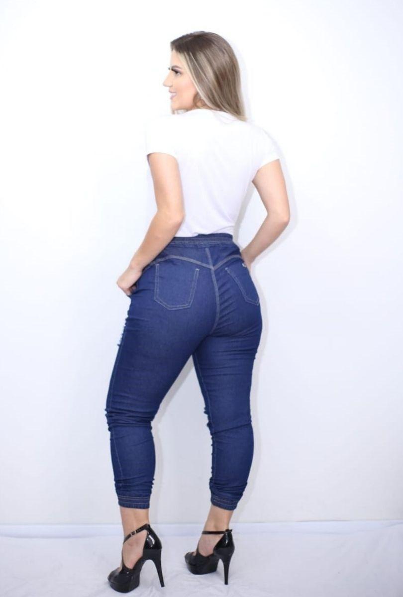 Calça Jeans Feminina Jogger Destroyed Cintura Alta Blogueira  - ModaStore