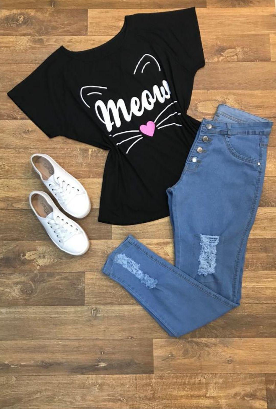 Calca Jeans Plus Size Destroyed Botão  - ModaStore