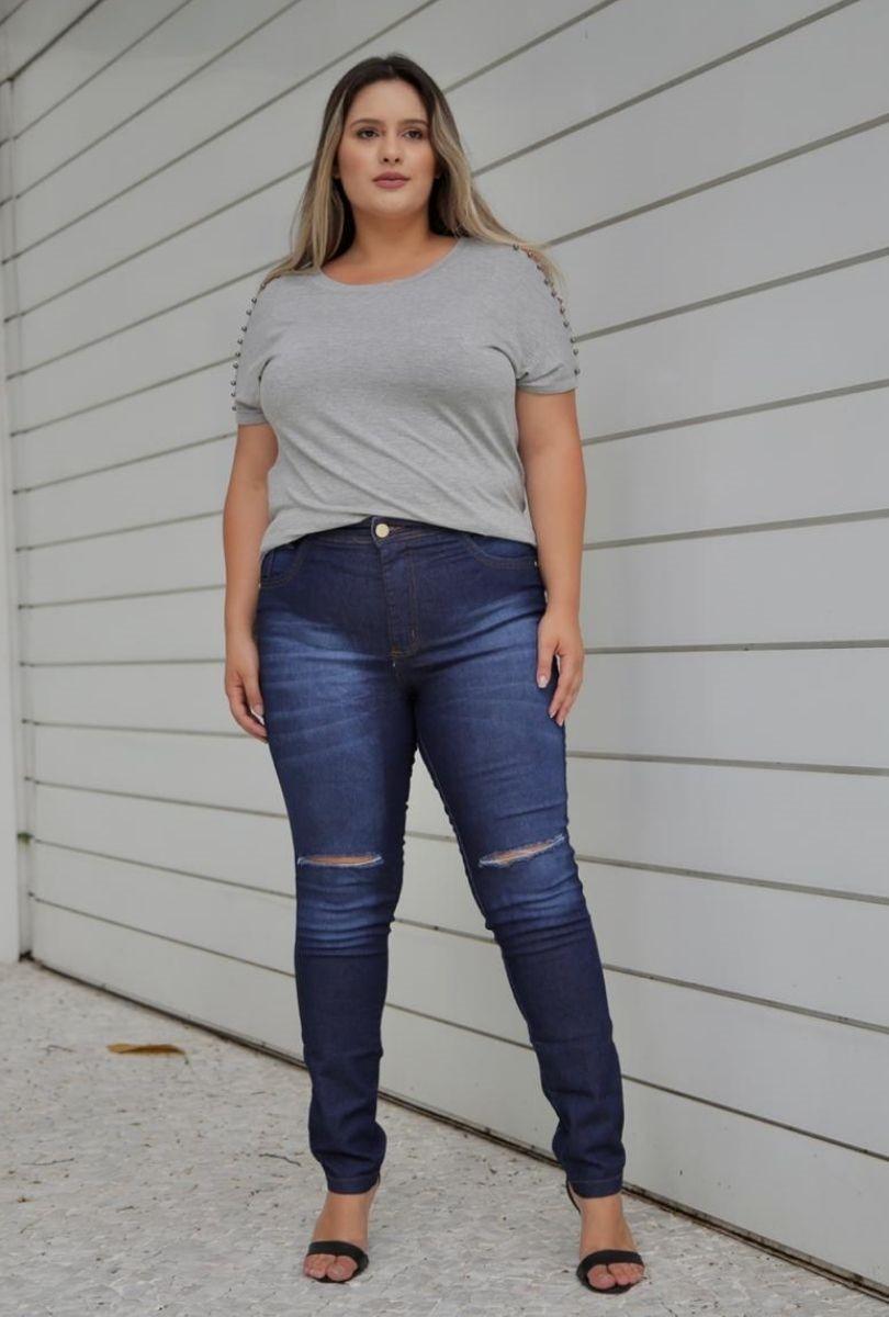 Calça Jeans Plus Size Destroyed   - ModaStore