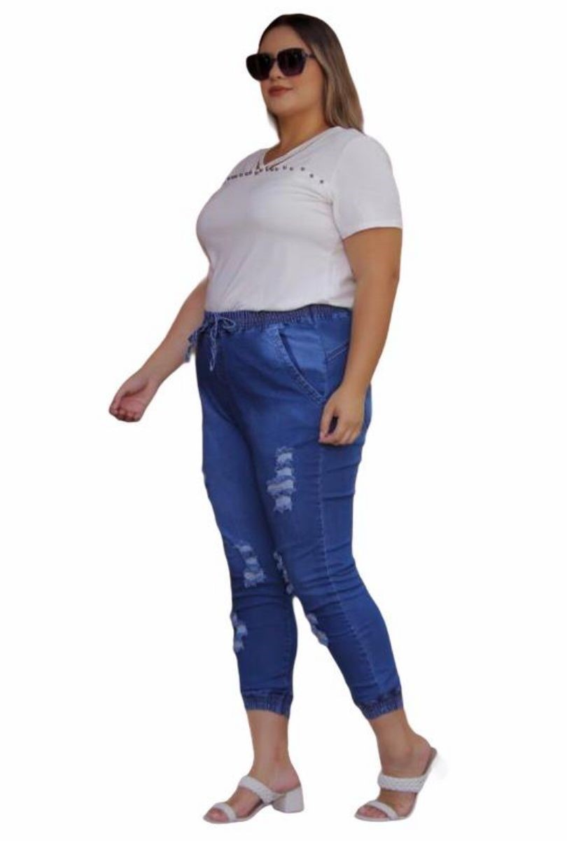 Calça Jeans Plus Size Jogger Destroyed Feminina Cintura Alta Blogueira  - ModaStore