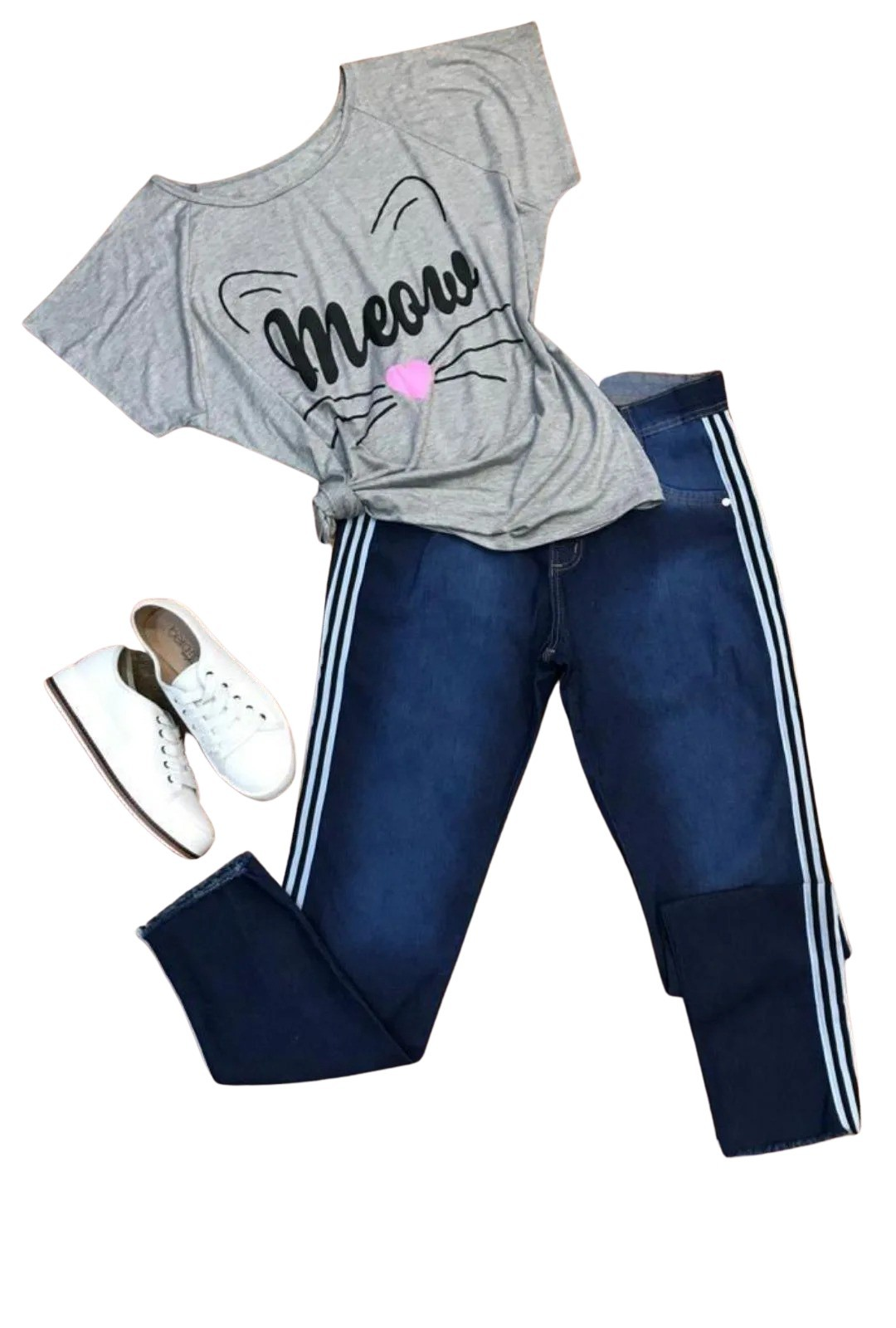Calça Jeans Plus Size Listra Lateral  - ModaStore   Moda Feminina
