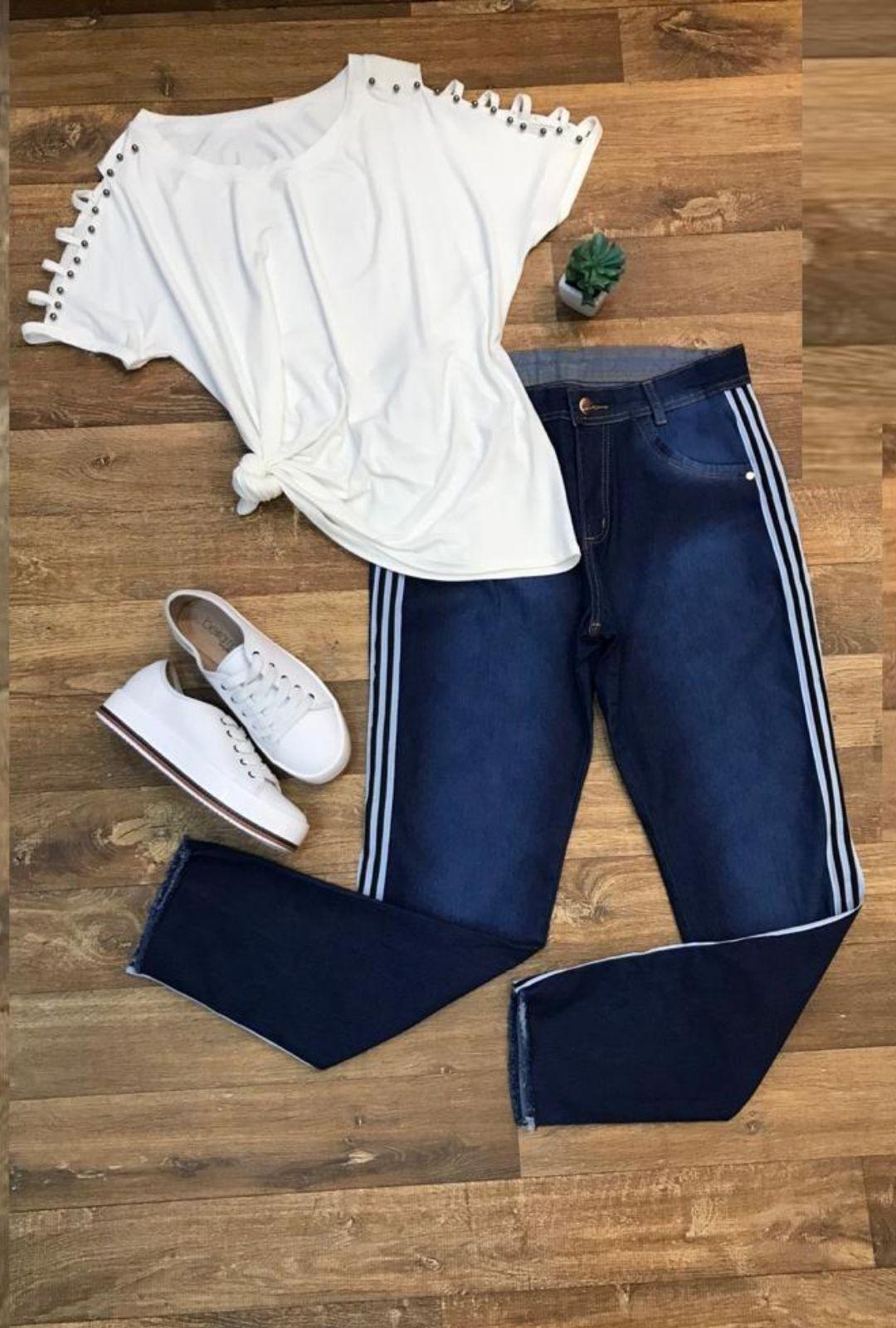 Calça Jeans Plus Size Listra Lateral  - ModaStore