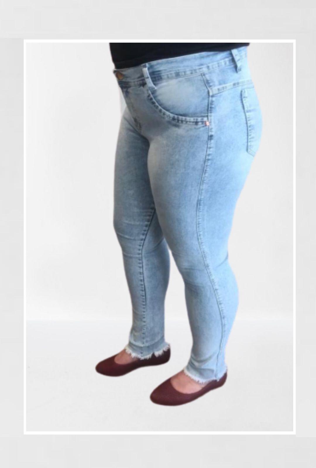 Calça Jeans Plus Size Mescla Barra Desfiada  - ModaStore