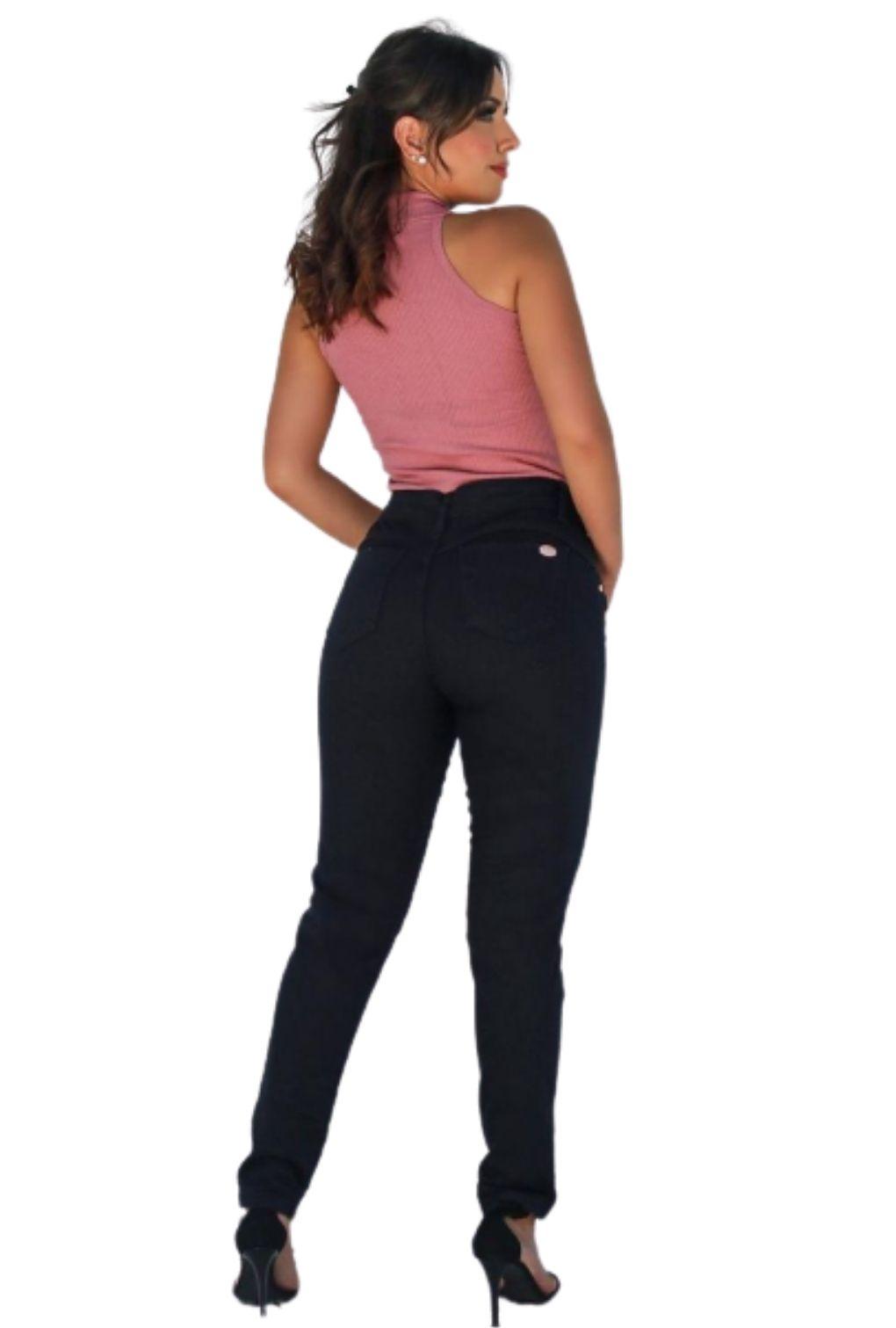 Calça Jeans Preta Rasgo Joelho  - ModaStore | Moda Feminina