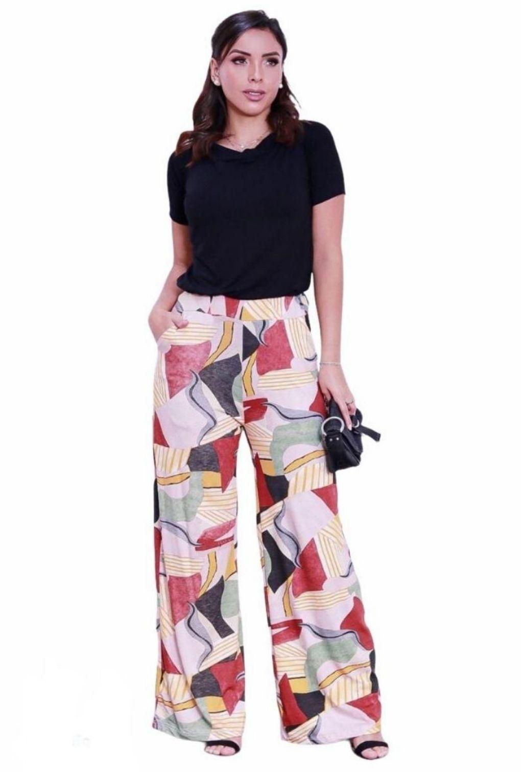 Calça Pantalona Feminina Cintura Alta com Bolso Estampada  - ModaStore | Moda Feminina
