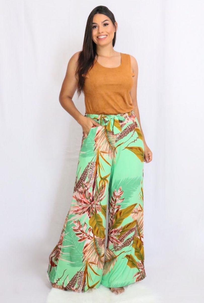 Calça Feminina Pantalona de Viscose Floral  - ModaStore