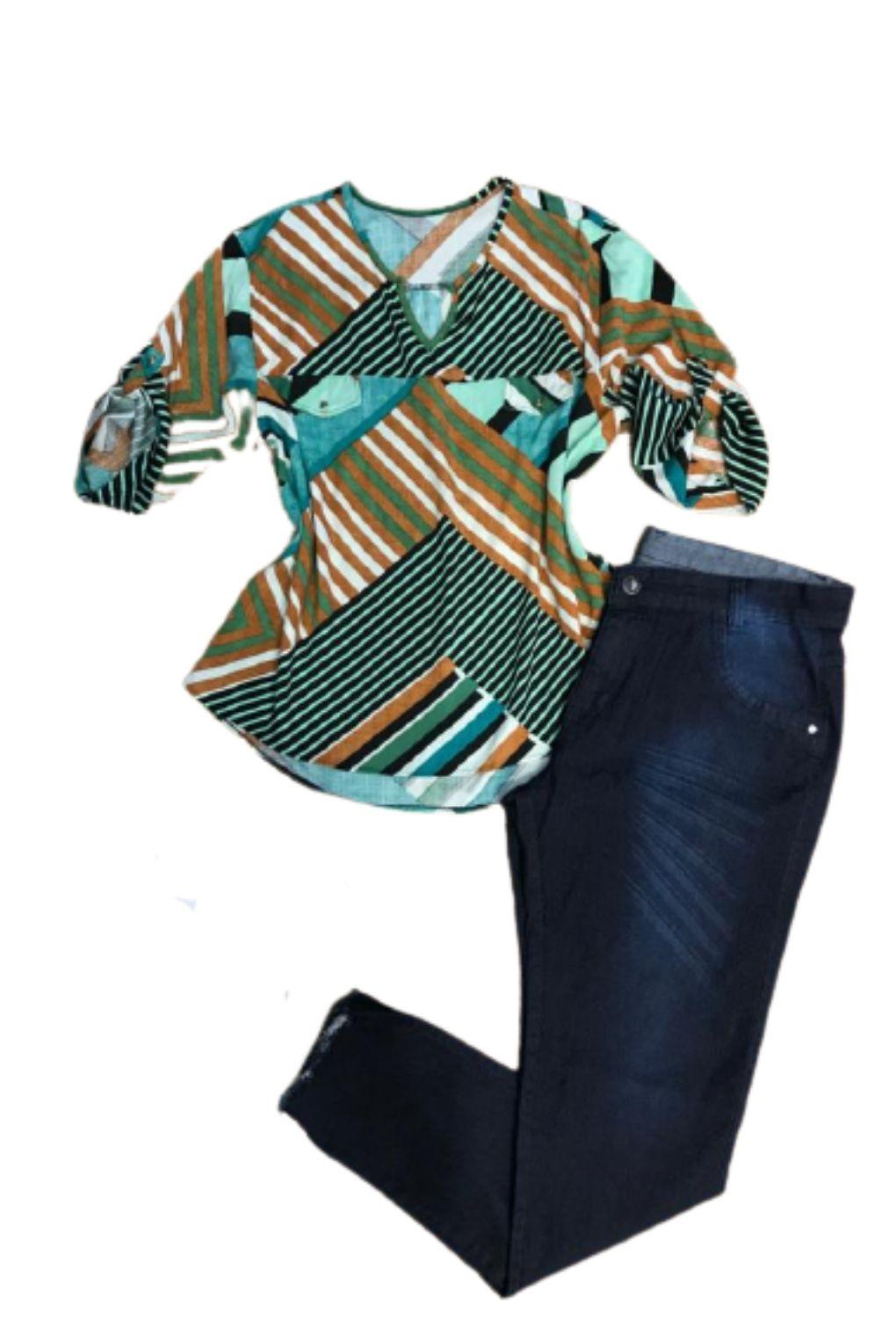 Camisa Blusa Feminina Manga Curta Social Estampada Verde  - ModaStore