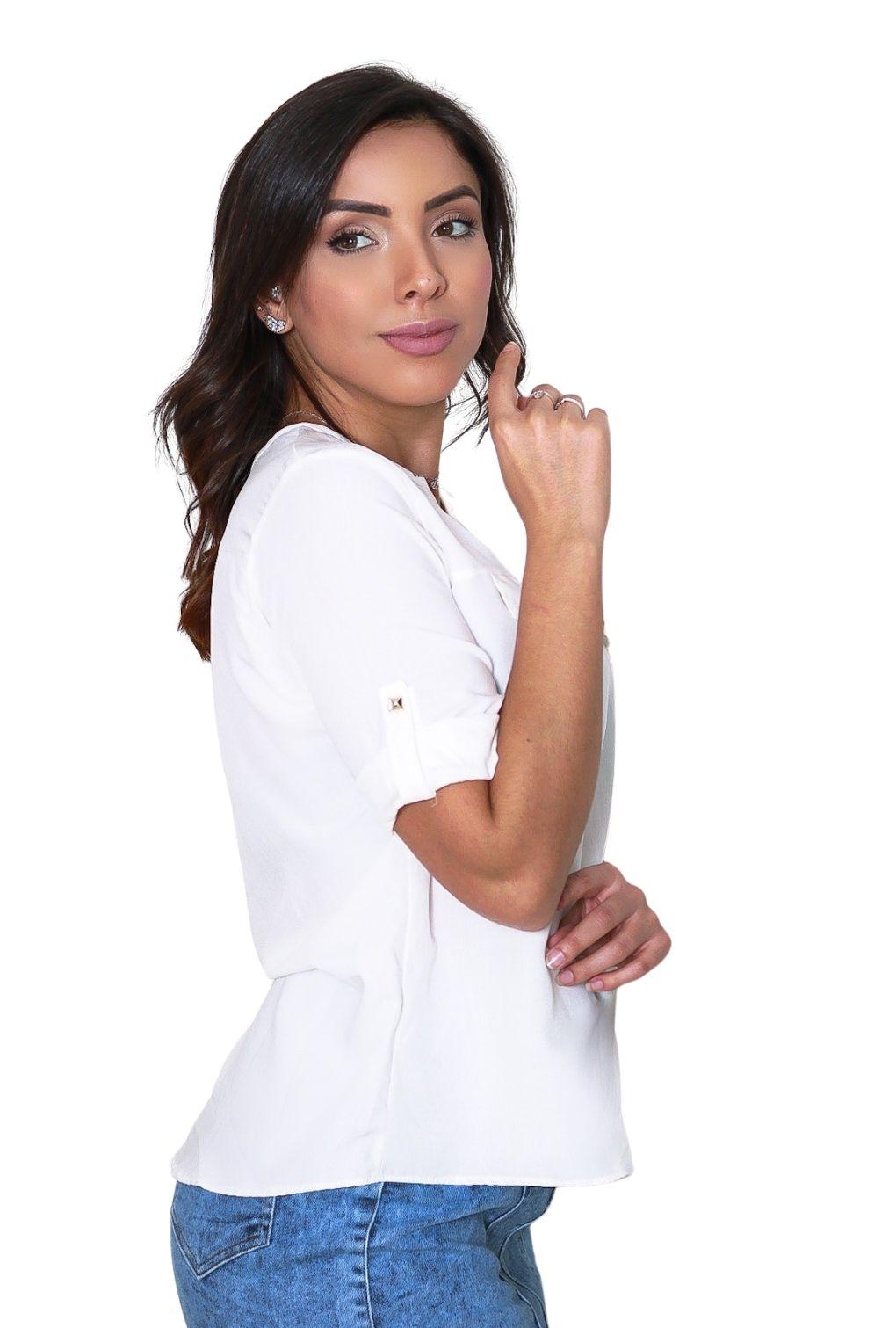 Camisa Blusa Feminina Manga Curta Social Lisa Off White  - ModaStore | Moda Feminina