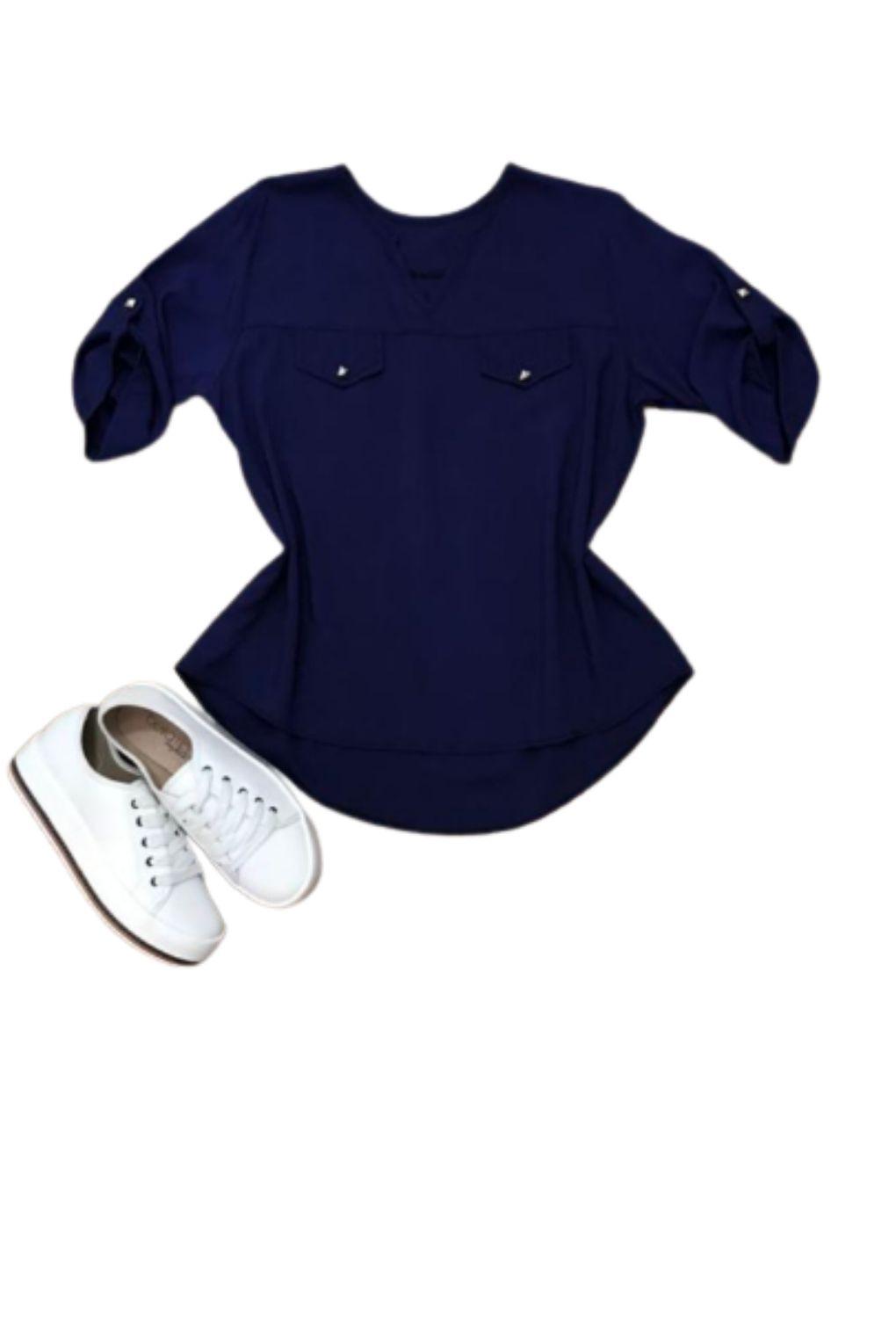 Camisa Blusa Feminina Manga Curta Social Lisa Azul Marinho  - ModaStore   Moda Feminina