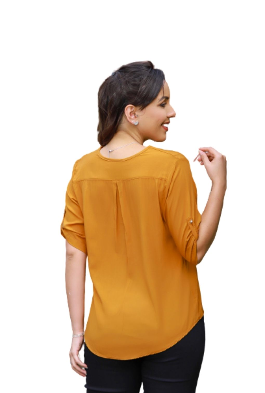Camisa Blusa Feminina Manga Curta Social Lisa Mostarda  - ModaStore | Moda Feminina