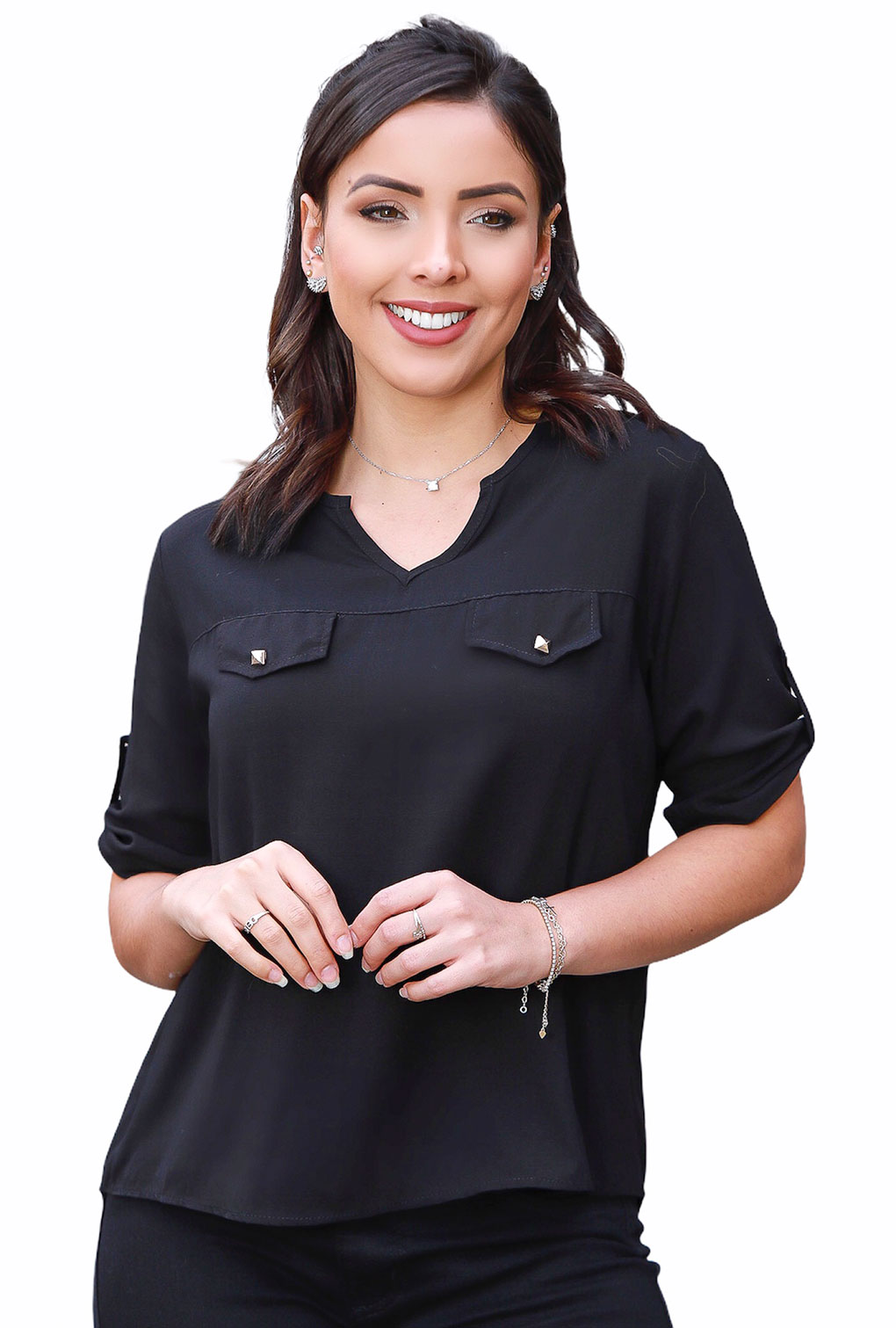 Camisa Blusa Feminina Manga Curta Social Lisa Preto  - ModaStore | Moda Feminina
