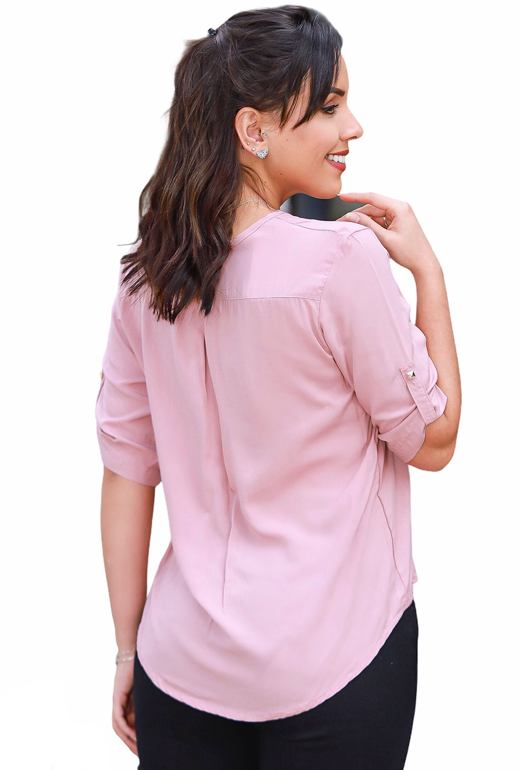 Camisa Blusa Feminina Manga Curta Social Lisa Rosa  - ModaStore | Moda Feminina