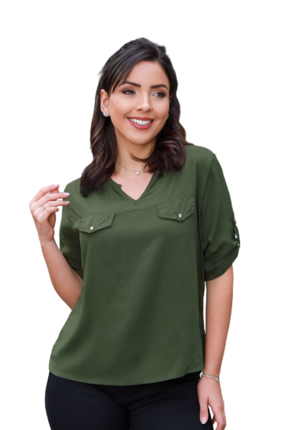 Camisa Blusa Feminina Manga Curta Social Lisa Verde Militar  - ModaStore   Moda Feminina