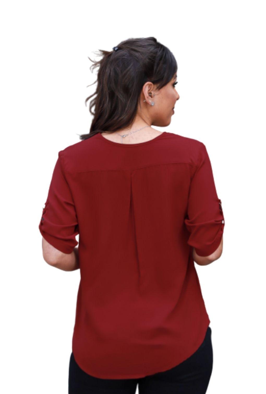 Camisa Blusa Feminina Manga Curta Social Lisa Vinho  - ModaStore | Moda Feminina