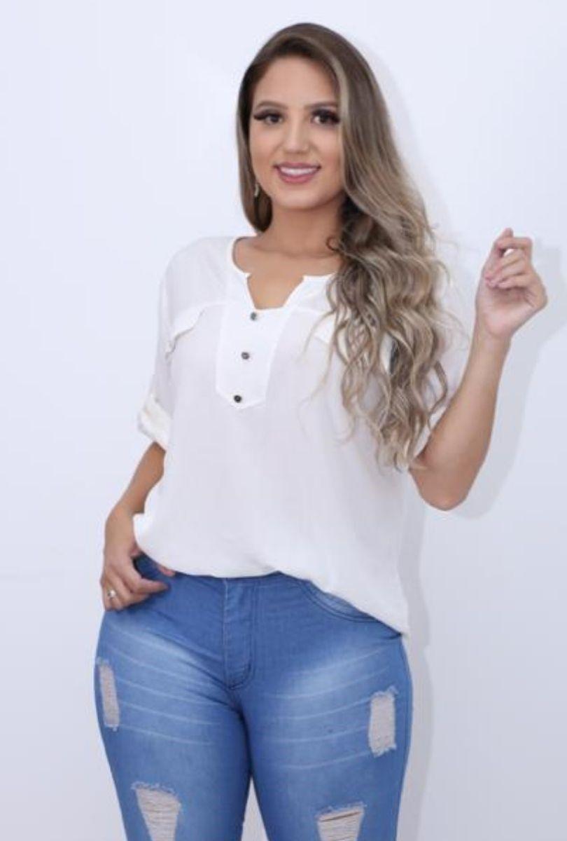 Camisa Blusa Feminina Manga Curta Social Sport   - ModaStore