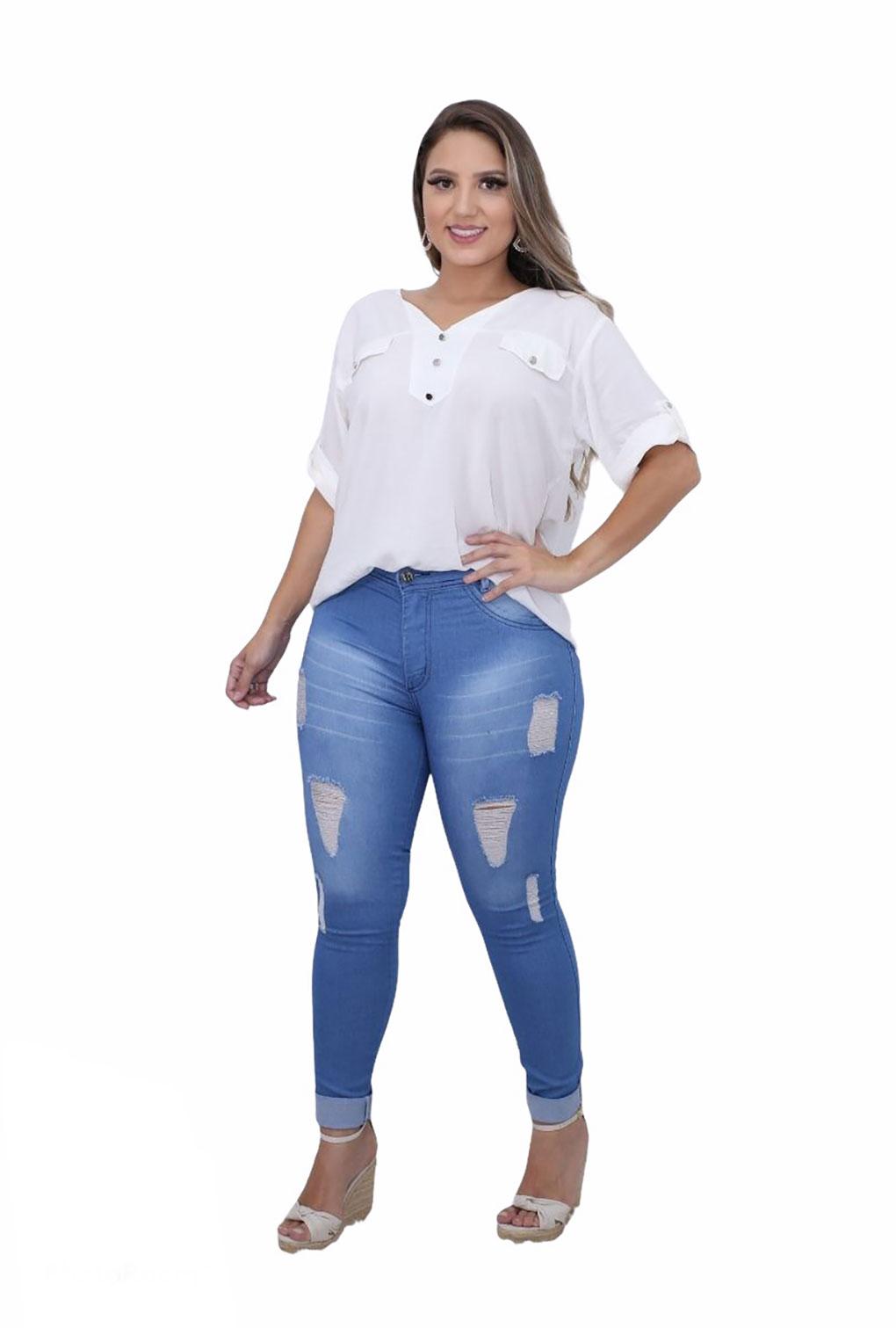 Camisa Blusa Feminina Manga Curta Social Sport Branca  - ModaStore   Moda Feminina