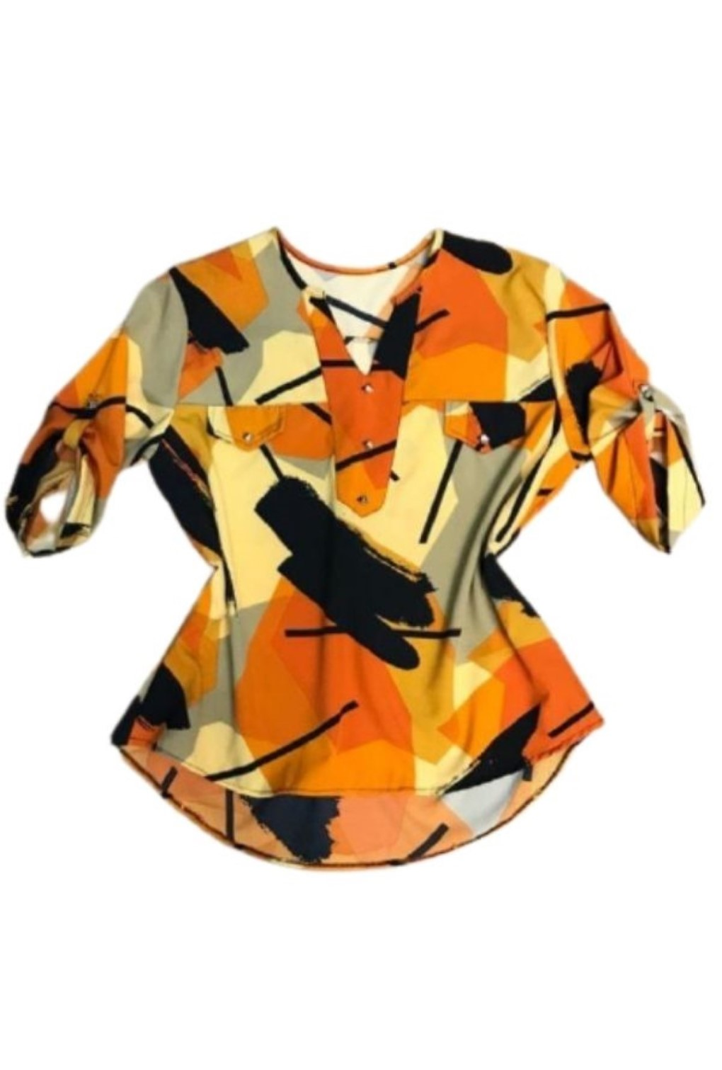 Camisa Blusa Feminina Manga Curta Social Sport Estampada Amarela  - ModaStore