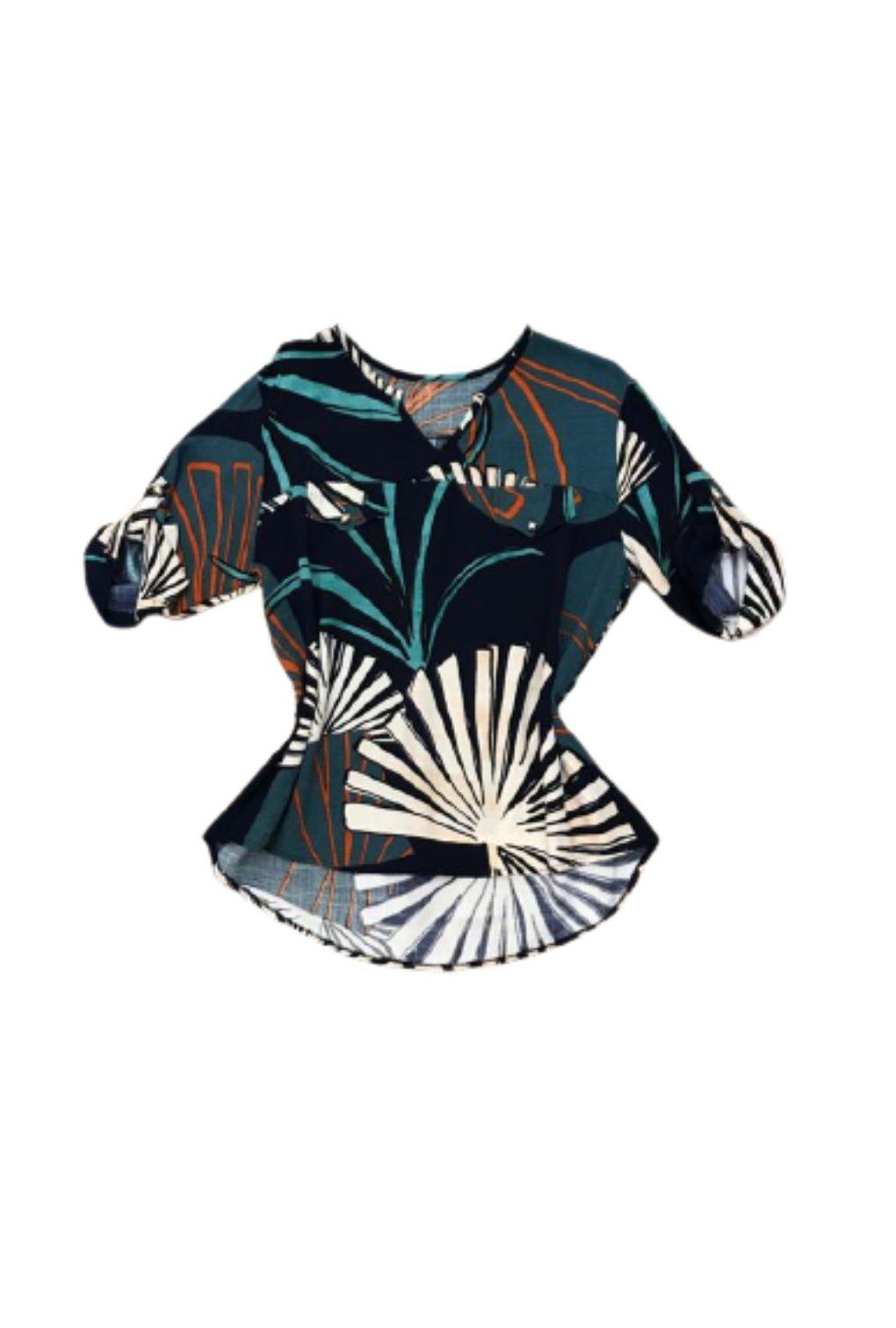Camisa Blusa Feminina Manga Curta Social Sport Estampada Azul  - ModaStore