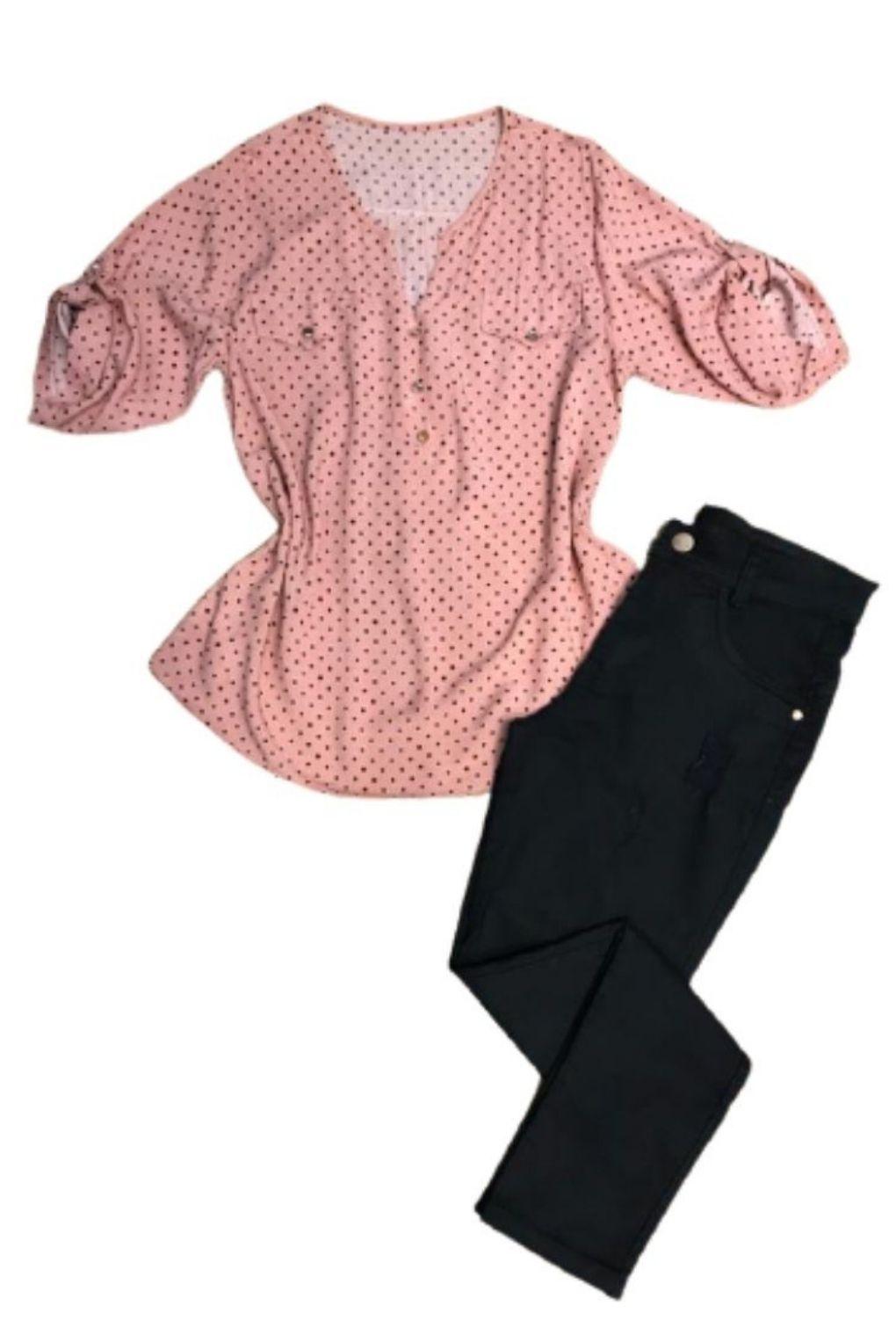 Camisa Blusa Feminina Manga Curta Social Sport Rosa Estampada  - ModaStore