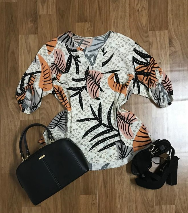 Camisa Blusa Feminina Manga Curta Social Sport Folhagem  - ModaStore