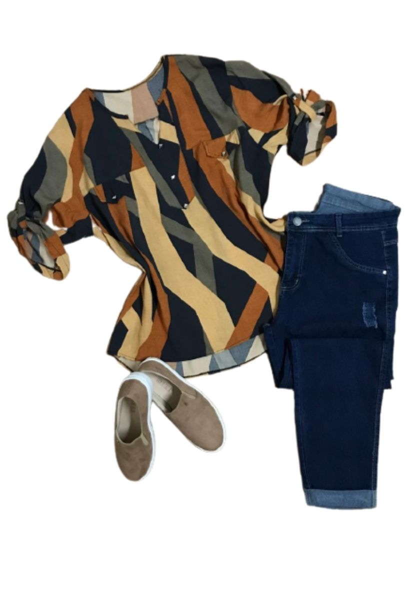 Camisa Blusa Feminina Manga Curta Social Sport Estampada Caramelo  - ModaStore | Moda Feminina