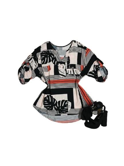 Camisa Blusa Feminina Manga Curta Social Sport Estampada Listras  - ModaStore