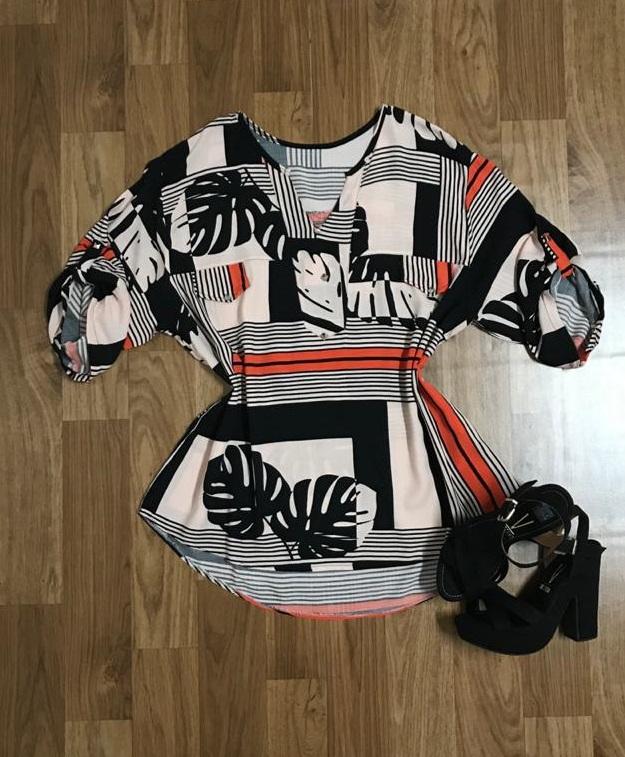Camisa Blusa Feminina Manga Curta Social Sport Estampada Listras  - ModaStore | Moda Feminina